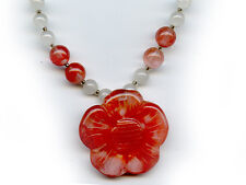 Carnelian Flower with Quartz beads Necklace 16""