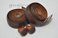 GYES Seamless Drop Handlebar Holes Leather Bar Tape Wrap Wooden plug - DarkBrown