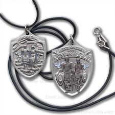 Mens Armor of God Dog Tag Pendant with Black Cord Military Style Necklace