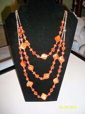 Woman's Orange Stone/Beaded Fashion Necklace