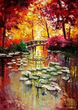 YARY DLUHOS Lily Pond Flower Sunrise Trees Bridge Limited Edition ACEO Print Art