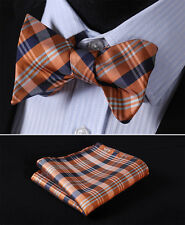 BC322NS Orange Navy Blue Check Bowtie Men Silk Self Bow Tie handkerchief set