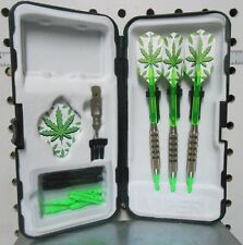 Fat Cat Darts 17 gm Neon Green Hemp Leaf Soft Tip Dart Set with 25 Extra Tips