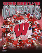 WISCONSIN BADGERS All-Time Greats Glossy 8x10 Photo JJ Watt Ron Dayne Lee Evans