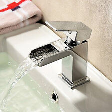 ALPHA SQUARE BATHROOM WATERFALL BASIN MONO MIXER TAP SOLID BRASS
