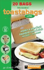 20 x REUSABLE TOASTER TOASTIE SANDWICH TOASTABAGS TOAST BAGS POCKETS TOASTY BULK