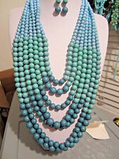 Seven Layers Multi Teal Blue Lucite Bead Chunky Long Necklace Earring Set