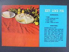 Key Lime Pie Recipe Florida Keys Color Chrome Postcard Vintage 1950's