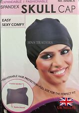 Womens Dome Spandex SKULL Cap Flexible Breathable Material BLK Fits Almost All**