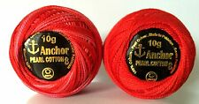 2 x Red ANCHOR Pearl Cotton crochet Solid & Variegated sewing thread balls