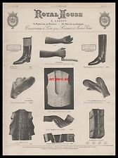 Publicité ROYAL HOUSE clothings men botte équitation  vintage print ad 1899 -3h
