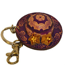Leather KeyChain/Bag Charm-Lovely Staw Hat Shape,Purple
