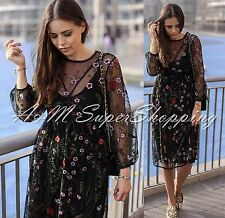 ZARA LONG FLORAL EMBROIDERED MESH DRESS STRAPPY BLACK SMALL S 8 UK 36 EU 4 US