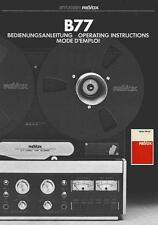REVOX B77 USER MANUAL AND SERVICE MANUAL - REEL TO REEL