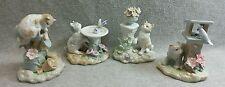 Lot 4 2000YH Porcelain Cat Kitten Figurines Mailbox Birdfeeder Birdbath Pedestal