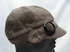 BROWN - WOOL BLEND - ONE SIZE - ADJUSTABLE - CADET STYLE CAP HAT!