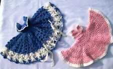 Doll Dresses Crocheted Hand Made Pink Blue White Circle Dresses Doll-Modelled