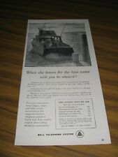 1956 Print Ad Bell Telephone System Fishing on Cabin Cruiser Boat