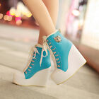 Fashion Womens Casual Lace up Wedge Platform High Heels Ankle Boots Pumps Shoes