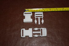 25mm Luggage Strap Delrin Clip Buckle White Bum Bag Back Pack Snap Clip 2 for £1