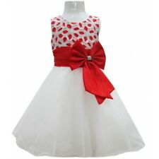 New Girls Flower Bow Formal Wedding Bridesmaid Party Size Dress Age 2-12 Years