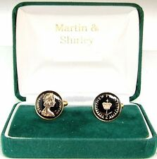 1978 Half P cufflinks from real coins in Black and Gold