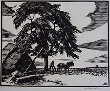 DESLIGNÈRES ANDRÉ (1880-1968) : Le laboureur.Bois original. SIGNé Byblis 1927