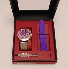 NEW SKY MARINE ROSE GOLD,INTERCHANGEABLE PURPLE SILICONE+SILVER MESH BAND WATCH