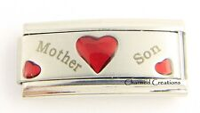 Mother Son Red Hearts Superlink 9mm Italian Charm Modular Stainless Steel Link
