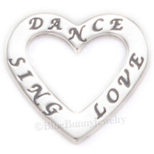 DANCE SING LOVE Heart Dancing Singing 925 Charm Pendant .925 Sterling Silver