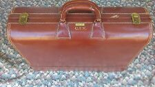 "Vintage WHEARY C.T.V  Brown Leather Suitcase 23"" Very Rare And Hard To Find"