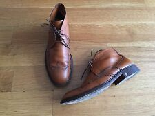 LOUIS VUITTON Mens Brown Leather Brogue Ankle Boots LV 8.5 US 9.5 $1480 Italy