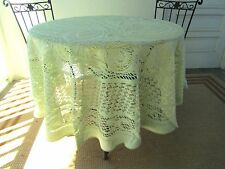 CHANTILLY LACE CROCHETED COTTON TABLECLOTH 72 INCH ROUND LIGHT GREEN