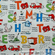 BonEful Fabric FQ Cotton Quilt Dr Seuss Book Word L Alphabet Cat in the Hat Baby
