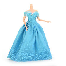 Blue Doll Dress Western Evening Gown Manual Clothes Wedding Dress for Barbie UBB