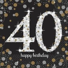 40th Happy Birthday Paper Napkins Party Gold Black Celebrations Ladies 2ply