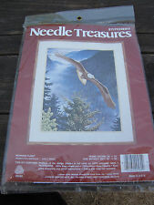 Vintage Needle Treasure Crewel Embroidery Kit Bald Eagle Morning Flight Painted