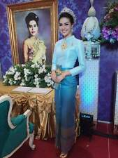THAI WEDDING DRESS TRADITIONAL BRIDAL CHUT THAI BOROMPHIMAN LIGHT BLUE SM10