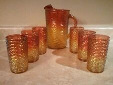 Anchor Hocking Amberina SORENO Mardi Gras Pitcher Tumblers Fire King RARE!
