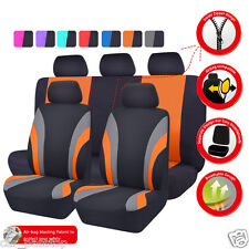 CAR PASS Universal Front&Rear Car Seat Covers Seat Cushion Black/orange Airbag