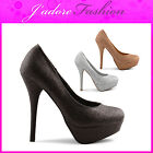 NEW LADIES HIGH HEEL STILETTO PLATFORM GLITTERY COURT SHOES SIZES UK 3-8