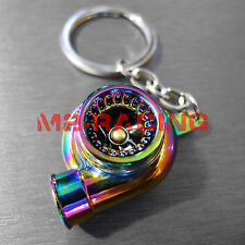 Neo Chrome Spinning Turbo Turbocharger Auto Racing Tuning Part Keychain Keyring