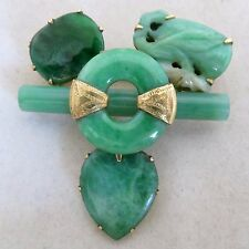 "1.8"" Chinese 19K Yellow Gold & Green JADEITE Jade Brooch / Pendant  (21.1 grams)"