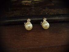 Vintage Pearl and Crystal Stud Pierced Earrings Silver Plated