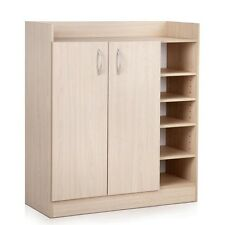 2 Doors Shoe Cabinet Storage Cupboard - Natural Timber - Shopiverse Deal