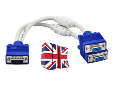 1 Male To 2 Dual Female PC VGA SVGA HD15 Monitor Y Splitter Adapter Cable