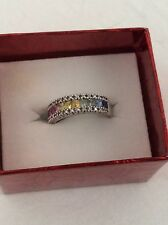 EFFY Rainbow Sapphire & Diamond Ring - 14k White Gold 1.54ctw