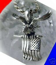 LOOK Sterling silver Eagle American Flag USA Charm America