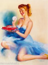 1940s Pin-Up Girl The Toy Red Car Picture Poster Print Vintage Art Pin Up