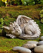 Realistic Stone Finish Sleeping Baby Dragon Outdoor Garden Statue